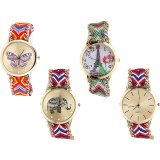 Neutron Treading Technology Butterfly, Paris Eiffel Tower And Elephant Analogue Multi Color Color Girls And Women Watch - G131-G146-G158-G168 (Combo Of  4 )