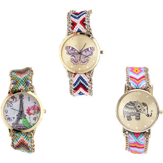 Neutron Contemporary Unique Butterfly, Paris Eiffel Tower And Elephant Analogue Multi Color Color Girls And Women Watch - G135-G146-G312 (Combo Of  3 )