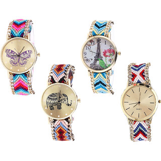Neutron Best Gift Butterfly, Paris Eiffel Tower And Elephant Analogue Multi Color Color Girls And Women Watch - G130-G149-G162-G313 (Combo Of  4 )