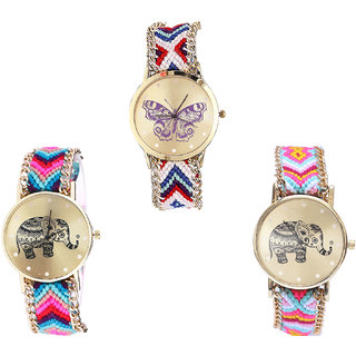Neutron Contemporary Quartz Butterfly And Elephant Analogue Multi Color Color Girls And Women Watch - G135-G154-G312 (Combo Of  3 )
