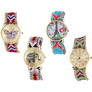 Neutron Brand New Italian Designer Butterfly, Paris Eiffel Tower And Elephant Analogue Multi Color Color Girls And Women Watch - G134-G150-G162-G166 (Combo Of  4 )