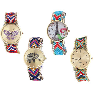 Neutron Contemporary Casual Butterfly, Paris Eiffel Tower And Elephant Analogue Multi Color Color Girls And Women Watch - G134-G150-G311-G166 (Combo Of  4 )