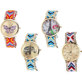 Neutron Best Valentine Butterfly, Paris Eiffel Tower And Elephant Analogue Multi Color Color Girls And Women Watch - G131-G149-G160-G313 (Combo Of  4 )