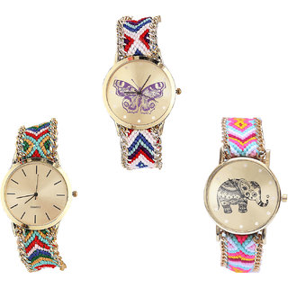 Neutron Latest Luxury Butterfly And Elephant Analogue Multi Color Color Girls And Women Watch - G135-G166-G312 (Combo Of  3 )