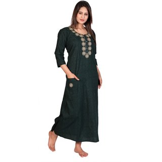 Women's Cotton Embroidered Nighty With Pocket