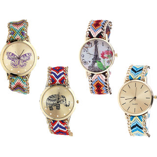 Neutron Treading Fashionable Butterfly, Paris Eiffel Tower And Elephant Analogue Multi Color Color Girls And Women Watch - G133-G151-G158-G314 (Combo Of  4 )