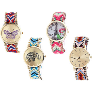 Neutron Modern Valentine Butterfly, Paris Eiffel Tower And Elephant Analogue Multi Color Color Girls And Women Watch - G134-G152-G160-G316 (Combo Of  4 )