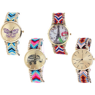 Neutron Treading Love Butterfly, Paris Eiffel Tower And Elephant Analogue Multi Color Color Girls And Women Watch - G136-G147-G154-G316 (Combo Of  4 )