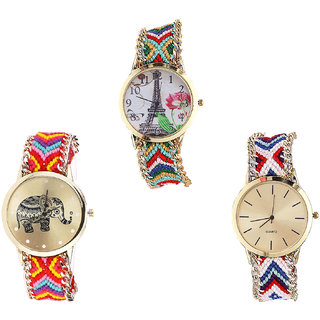Neutron Best Analogue Paris Eiffel Tower And Elephant Analogue Multi Color Color Girls And Women Watch - G145-G155-G313 (Combo Of  3 )