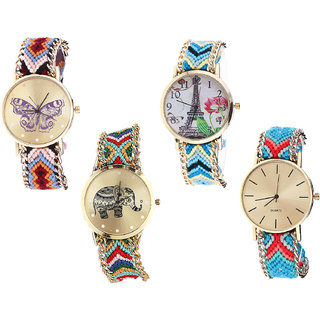 Neutron Best Royal Butterfly, Paris Eiffel Tower And Elephant Analogue Multi Color Color Girls And Women Watch - G138-G149-G156-G315 (Combo Of  4 )