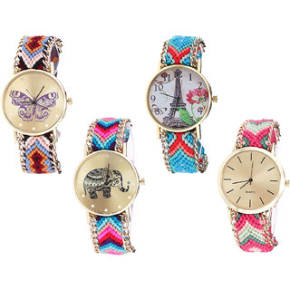 Neutron New Party Wedding Butterfly, Paris Eiffel Tower And Elephant Analogue Multi Color Color Girls And Women Watch - G138-G150-G154-G317 (Combo Of  4 )