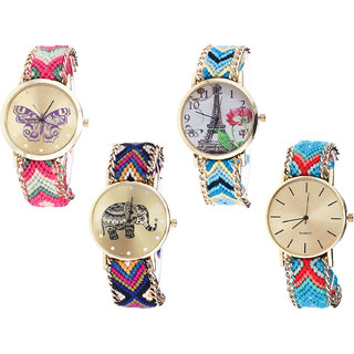 Neutron Best High Quality Butterfly, Paris Eiffel Tower And Elephant Analogue Multi Color Color Girls And Women Watch - G139-G149-G311-G315 (Combo Of  4 )