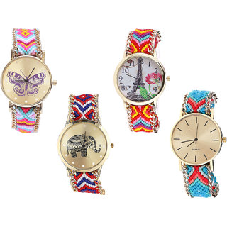 Neutron Classical Fancy Butterfly, Paris Eiffel Tower And Elephant Analogue Multi Color Color Girls And Women Watch - G142-G144-G158-G315 (Combo Of  4 )