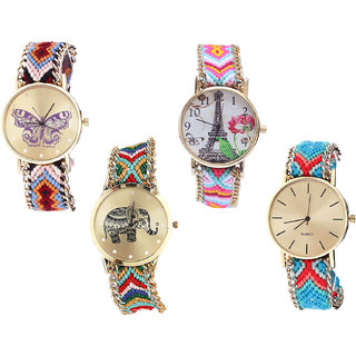Neutron Latest Royal Butterfly, Paris Eiffel Tower And Elephant Analogue Multi Color Color Girls And Women Watch - G138-G310-G156-G315 (Combo Of  4 )