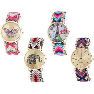 Neutron Treading Gift Butterfly, Paris Eiffel Tower And Elephant Analogue Multi Color Color Girls And Women Watch - G139-G143-G162-G318 (Combo Of  4 )
