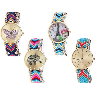 Neutron Best Model Butterfly, Paris Eiffel Tower And Elephant Analogue Multi Color Color Girls And Women Watch - G140-G149-G154-G315 (Combo Of  4 )