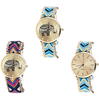 Neutron Brand New Collegian Elephant Analogue Multi Color Color Girls And Women Watch - G160-G311-G314 (Combo Of  3 )