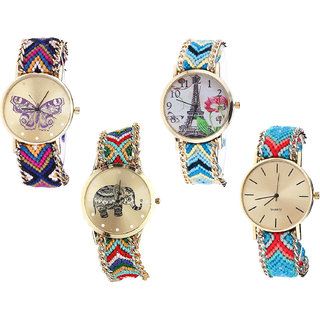 Neutron Best Collection Butterfly, Paris Eiffel Tower And Elephant Analogue Multi Color Color Girls And Women Watch - G140-G149-G156-G315 (Combo Of  4 )