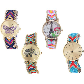 Neutron Latest Collection Butterfly, Paris Eiffel Tower And Elephant Analogue Multi Color Color Girls And Women Watch - G140-G310-G156-G315 (Combo Of  4 )