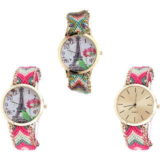 Neutron Modern Formal Paris Eiffel Tower Analogue Multi Color Color Girls And Women Watch - G146-G152-G317 (Combo Of  3 )