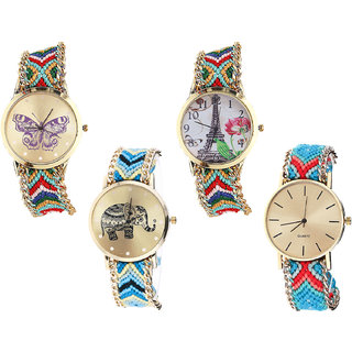 Neutron Best Style Butterfly, Paris Eiffel Tower And Elephant Analogue Multi Color Color Girls And Women Watch - G132-G145-G160-G315 (Combo Of  4 )