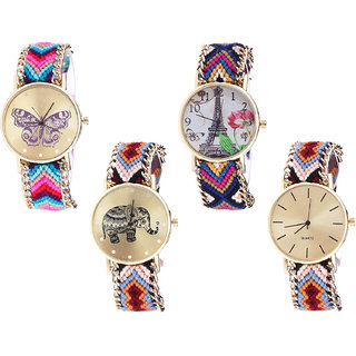 Neutron Latest Gift Butterfly, Paris Eiffel Tower And Elephant Analogue Multi Color Color Girls And Women Watch - G130-G153-G162-G316 (Combo Of  4 )