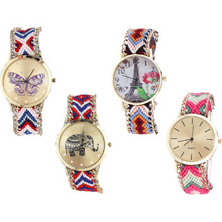 Neutron Modern Fancy Butterfly, Paris Eiffel Tower And Elephant Analogue Multi Color Color Girls And Women Watch - G135-G151-G158-G317 (Combo Of  4 )
