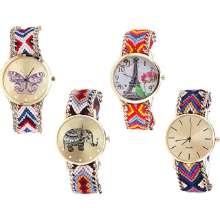 Neutron Contemporary Professional Butterfly, Paris Eiffel Tower And Elephant Analogue Multi Color Color Girls And Women Watch - G135-G144-G162-G318 (Combo Of  4 )