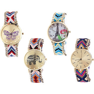 Neutron Classical Professional Butterfly, Paris Eiffel Tower And Elephant Analogue Multi Color Color Girls And Women Watch - G135-G149-G162-G318 (Combo Of  4 )