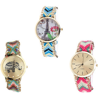 Neutron Latest Collegian Paris Eiffel Tower And Elephant Analogue Multi Color Color Girls And Women Watch - G149-G157-G317 (Combo Of  3 )