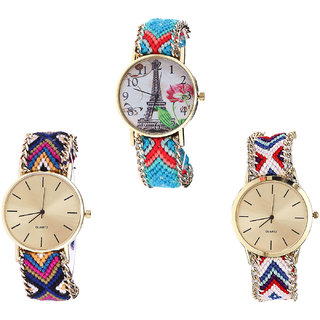 Neutron Brand New Heart Paris Eiffel Tower Analogue Multi Color Color Girls And Women Watch - G150-G318-G313 (Combo Of  3 )