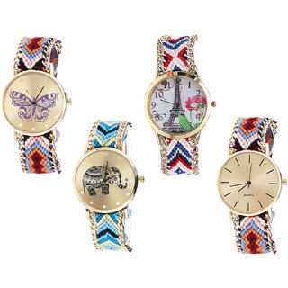 Neutron Classical Style Butterfly, Paris Eiffel Tower And Elephant Analogue Multi Color Color Girls And Women Watch - G138-G148-G160-G316 (Combo Of  4 )