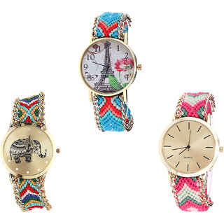 Neutron Latest Exclusive Paris Eiffel Tower And Elephant Analogue Multi Color Color Girls And Women Watch - G150-G156-G317 (Combo Of  3 )