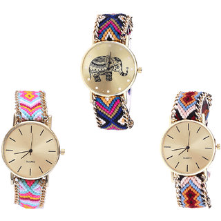Neutron Brand New Formal Elephant Analogue Multi Color Color Girls And Women Watch - G311-G319-G316 (Combo Of  3 )