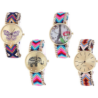 Neutron Contemporary Model Butterfly, Paris Eiffel Tower And Elephant Analogue Multi Color Color Girls And Women Watch - G140-G143-G154-G316 (Combo Of  4 )