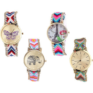 Neutron Classical Designer Butterfly, Paris Eiffel Tower And Elephant Analogue Multi Color Color Girls And Women Watch - G135-G143-G312-G167 (Combo Of  4 )
