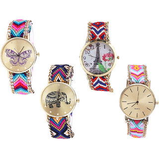 Neutron New High Quality Butterfly, Paris Eiffel Tower And Elephant Analogue Multi Color Color Girls And Women Watch - G130-G147-G311-G319 (Combo Of  4 )