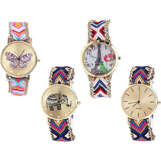 Neutron Contemporary Branded Butterfly, Paris Eiffel Tower And Elephant Analogue Multi Color Color Girls And Women Watch - G142-G148-G311-G318 (Combo Of  4 )