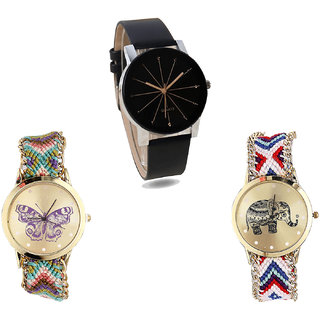 Neutron Brand New Casual Butterfly And Elephant Analogue Black And Multi Color Color Girls And Women Watch - G174-G133-G159 (Combo Of  3 )