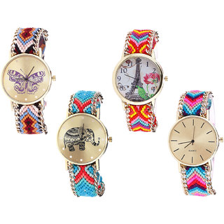Neutron Modern Collegian Butterfly, Paris Eiffel Tower And Elephant Analogue Multi Color Color Girls And Women Watch - G138-G144-G161-G164 (Combo Of  4 )