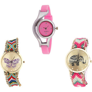 Neutron Treading Traditional World Cup, Butterfly And Elephant Analogue Pink And Multi Color Color Girls And Women Watch - G3-G132-G163 (Combo Of  3 )
