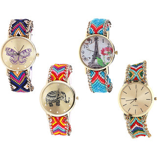Neutron Latest Quartz Butterfly, Paris Eiffel Tower And Elephant Analogue Multi Color Color Girls And Women Watch - G140-G150-G155-G166 (Combo Of  4 )