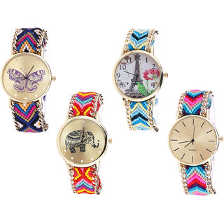 Neutron Contemporary Quartz Butterfly, Paris Eiffel Tower And Elephant Analogue Multi Color Color Girls And Women Watch - G140-G149-G155-G164 (Combo Of  4 )