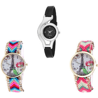 Neutron Best Valentine World Cup And Paris Eiffel Tower Analogue Black And Multi Color Color Girls And Women Watch - G1-G143-G152 (Combo Of  3 )