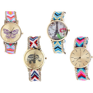 Neutron Latest Stylish Butterfly, Paris Eiffel Tower And Elephant Analogue Multi Color Color Girls And Women Watch - G142-G149-G159-G164 (Combo Of  4 )