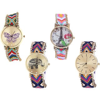 Neutron Best Branded Butterfly, Paris Eiffel Tower And Elephant Analogue Multi Color Color Girls And Women Watch - G132-G310-G311-G318 (Combo Of  4 )