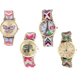 Neutron Treading Wrist  Butterfly, Paris Eiffel Tower And Elephant Analogue Multi Color Color Girls And Women Watch - G142-G148-G163-G167 (Combo Of  4 )