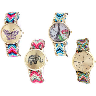 Neutron Treading Present Butterfly, Paris Eiffel Tower And Elephant Analogue Multi Color Color Girls And Women Watch - G130-G149-G163-G167 (Combo Of  4 )