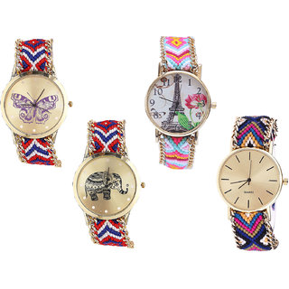 Neutron Best Technology Butterfly, Paris Eiffel Tower And Elephant Analogue Multi Color Color Girls And Women Watch - G134-G310-G158-G318 (Combo Of  4 )