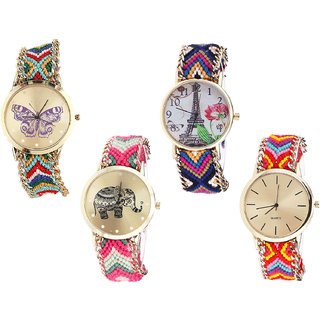 Neutron Brand New Wrist  Butterfly, Paris Eiffel Tower And Elephant Analogue Multi Color Color Girls And Women Watch - G132-G153-G163-G165 (Combo Of  4 )